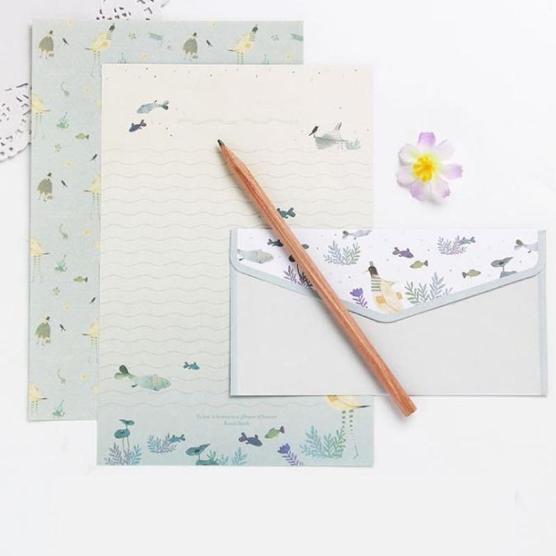 1 Set 3 Envelops+6 Letters Flower Animal Letter Pad Writing Paper Letter Envelopes Set Stationery Office School Supplies