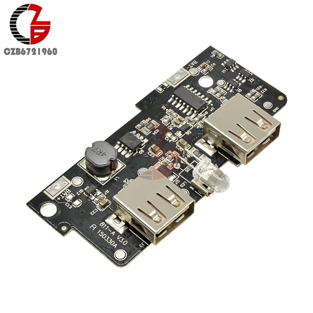 5V 2A Power Bank Charger Module Step Up Boost Power Supply Charging PCB Circuit Board DIY Dual USB Output LED for Power bank