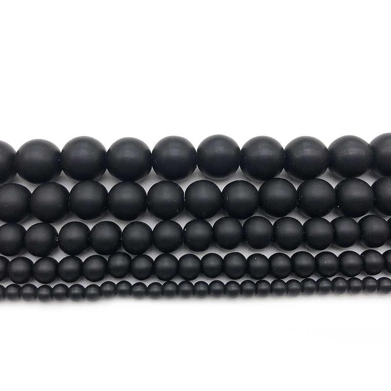 ماتي مملة مصقول الأسود Agates الجزع الخرز الحجر الطبيعي فضفاض الخرز لصنع المجوهرات سوار ذاتي الصنع 4 6 8 10 12 مللي متر بالجملة