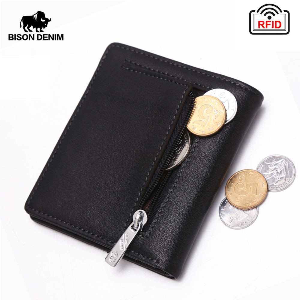 BISON DENIM Fashion Purse Men's Genuine Leather Wallet RFID Blocking Mini Wallet Male Card Holder Small Zipper Coin Purse W9317