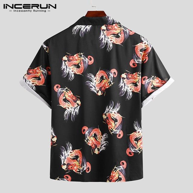 INCERUN été impression hommes hawaïen chemise à manches courtes revers 2021 marque de mode Camisas Streetwear plage décontracté Chic Blouse hommes