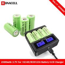 Bonacell baterias recarregáveis 3.7v 2800mah, cr123a, íon-lítio, 16340 mah, cr123 para caneta laser, lanterna led, célula, câmera de segurança
