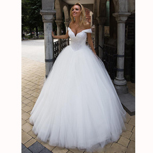 Ball Gown Lace Wedding Dresses Beaded Sweetheart Off the Shoulder Tulle Long Dress With Court Train Bridal Gowns robe de mariee lovely tulle ball gown wedding dress 2019 new sweetheart lace appliques off shoulder court train princess church bridal dresses