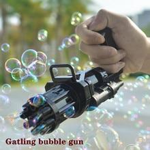 Mini máquina de bolha gatling brinquedo crianças verão outdooc ventilador automático pomperos sabão bolha toysboys meninas festa atmosfera presentes