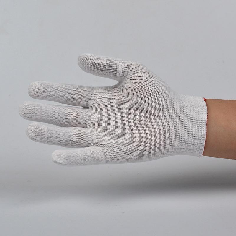 White Nylon Gloves Thin Gloves WOMEN'S Cotton Gloves Food Preservation Dust-Free Gloves Core Labor Safety Thirteen Needle Gloves