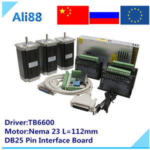 Image 1 - Nema 23 جهاز التوجيه باستخدام الحاسب الآلي 3 محور عدة: TB6600 محرك سيرفو + DB25 لوحة القطع + 3N.m/425oz.in محرك متدرج لمخرطة جهاز التوجيه باستخدام الحاسب الآلي مطحنة