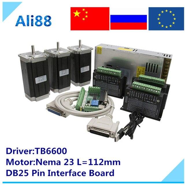 Nema 23 جهاز التوجيه باستخدام الحاسب الآلي 3 محور عدة: TB6600 محرك سيرفو + DB25 لوحة القطع + 3N.m/425oz.in محرك متدرج لمخرطة جهاز التوجيه باستخدام الحاسب الآلي مطحنة