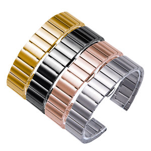Stainless steel watch bands black silver gold rose gold bracelet Replacement metal  belt for male and female watch accessories