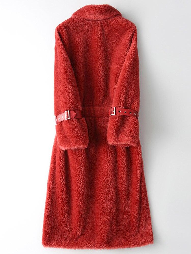 Coat Fur Real Female 100% Wool Coats 2020 Winter Jacket Women Long Coat Female Lamb Fur Korean Jackets Abrigo Mujer MY S S