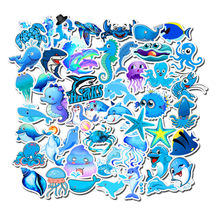 49Pcs Mixed Blue Ocean Animal Stickers Cartoon Shark Dolphins Seahorse Sticker to Luggage Laptop Skateboard Bicycle Guitar Phone