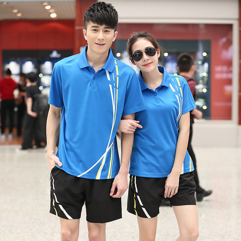 Summer MEN'S Short Sleeve Shirt Shorts Sports Set Men And Women Casual Sports Clothing Couples Students Shuttlecock Customizable