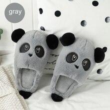 Women House Slippers Casual Large Size 43-45 Flock Superstar Flat PVC Panda Pattern Fur Woman
