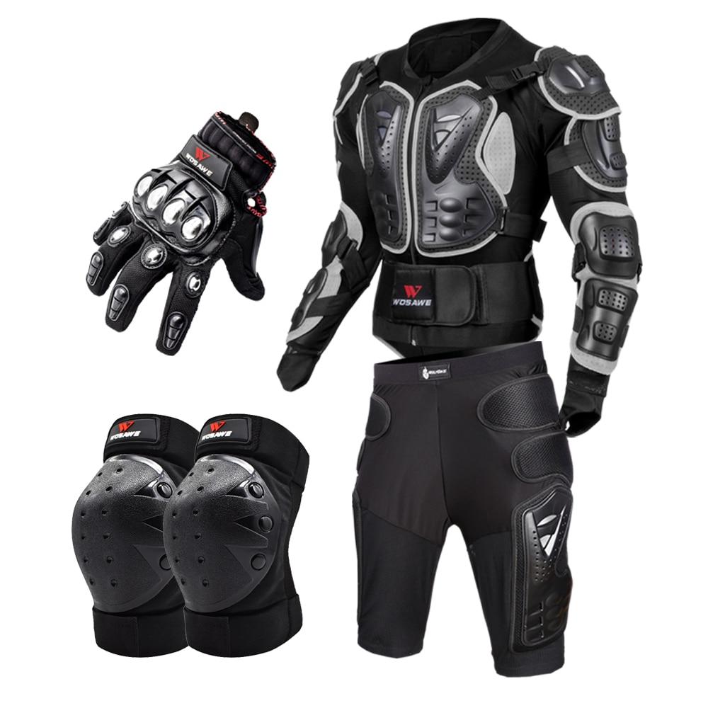 Motorcycle Full Body Armor Motos Body Protector Armadura Moto Proteccion Motocicleta Motorcycle Jacket+Shorts+Knee Pads+Gloves