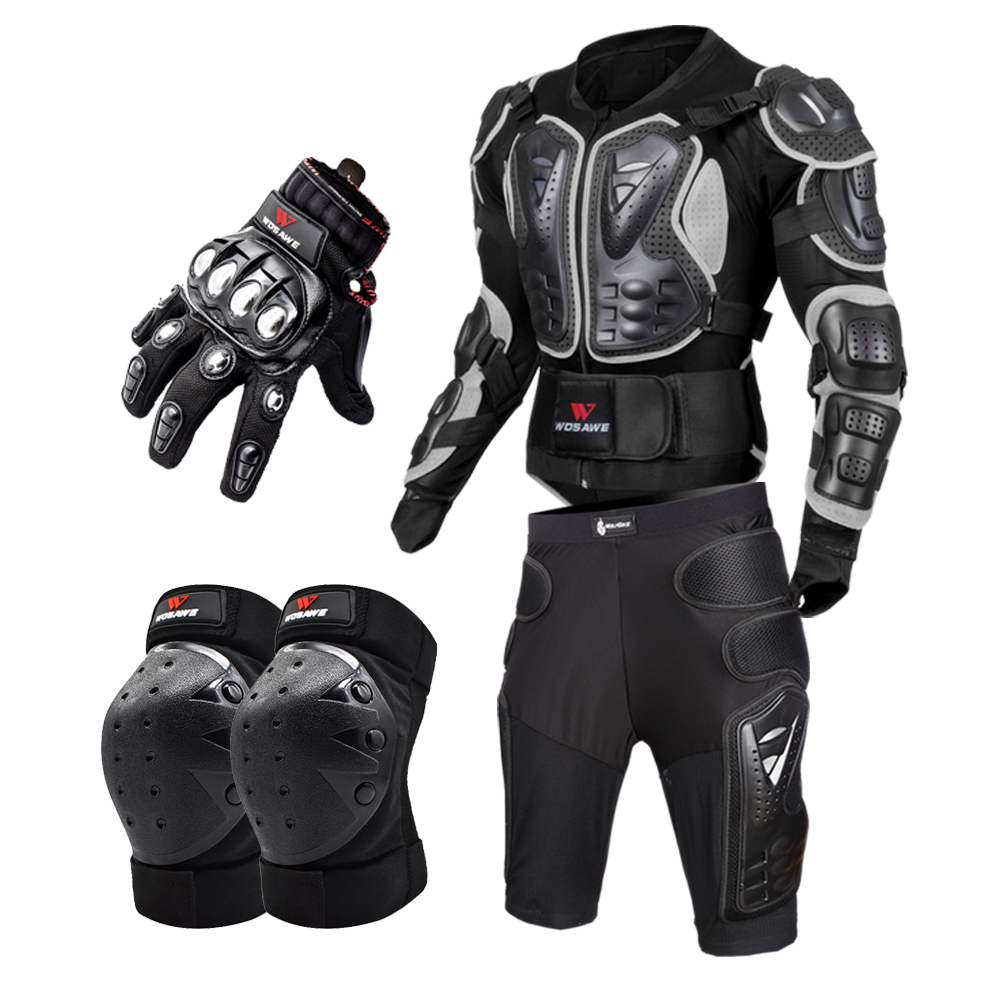 WOSAWE Men Motorcycle Gloves Touch Screen Racing Hand Protector Hard Knuckle Alloy Steel Motorcross Protection Gear for Autumn Winter BST-017 Black L