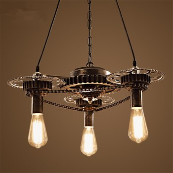 Chandelier Living Room Gear Chandelier Free Shipping Creative Personality Iron Loft Retro Industrial Wind Restaurant LED Bulbs creative personality american restaurant chandelier lamp romantic cafe bar iron chandelier retro wind industry zzp727pp