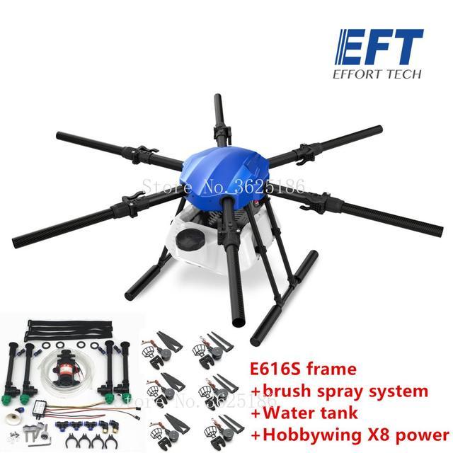 EFT E616S 16L الزراعية طائرة دون طيار للرش E616 616S 16 كجم للطي إطار قاعدة العجلات فرش مضخة مياه رذاذ X8 نظام الطاقة عدة 1