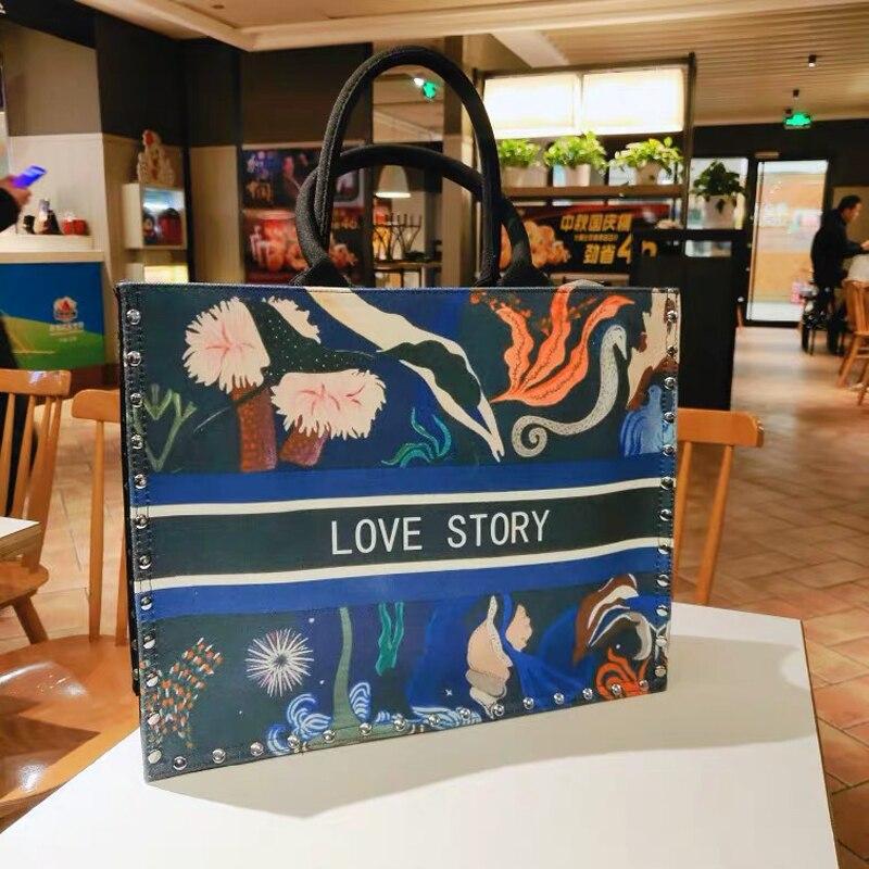 2019 Women's Bags National Wind Printed Canvas Tote Casual Beach Bags Female Luxury Handbags Shopper Bag Designer Large Capacity