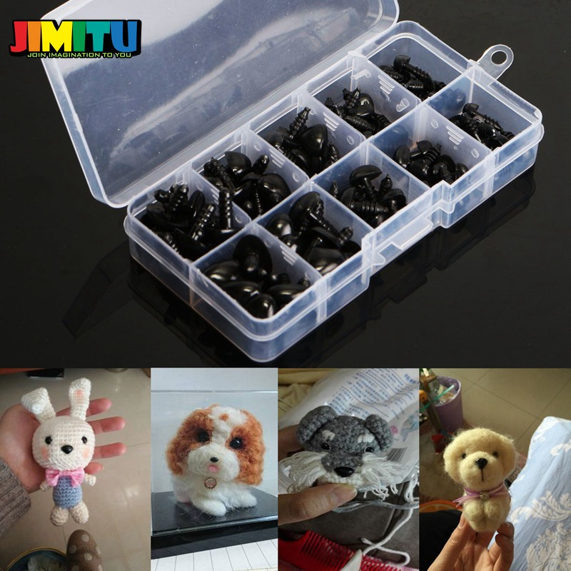 130Pcs Black Plastic Safety Noses for Teddy Bear Animals Doll Puppet Making