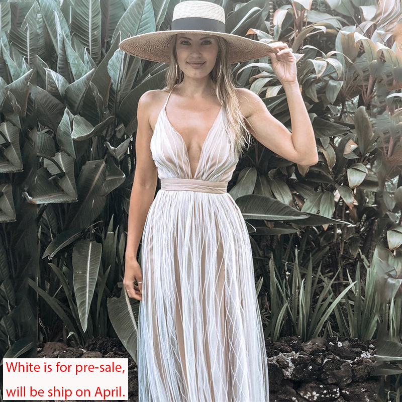 Affogatoo Sexy deep v neck backless summer pink dress women Elegant lace evening maxi dress Holiday long party dress ladies 2019 5