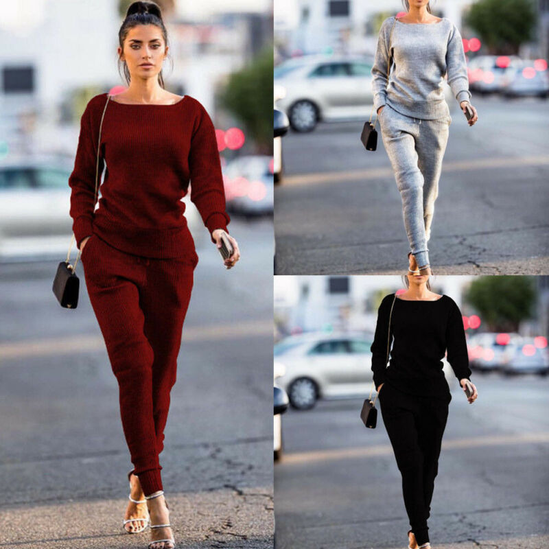 Women Clothes Set 2019 New Long Sleeve Autumn Spring Casual Solid Lady Tracksuit Sweatshirt Pants Sets Casual Suit