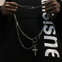 Hip Hop Multi Layer Cross Pendant Necklace For Eboy Steampunk Long Chain Necklace Stanless Steel Jewellery Boyfriend Gift(China)