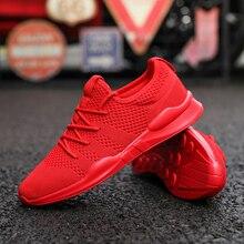 Sapatos masculinos respirável tênis unissex tamanho casal sapatos adulto vermelho preto branco de alta qualidade confortável não deslizamento sapatos de malha macia