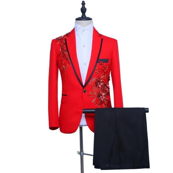 Chinese Style Red Blazer Men Groom Suit Set With Pants Mens Wedding Suits Costume Singer Star Style Stage Clothing Formal Dress