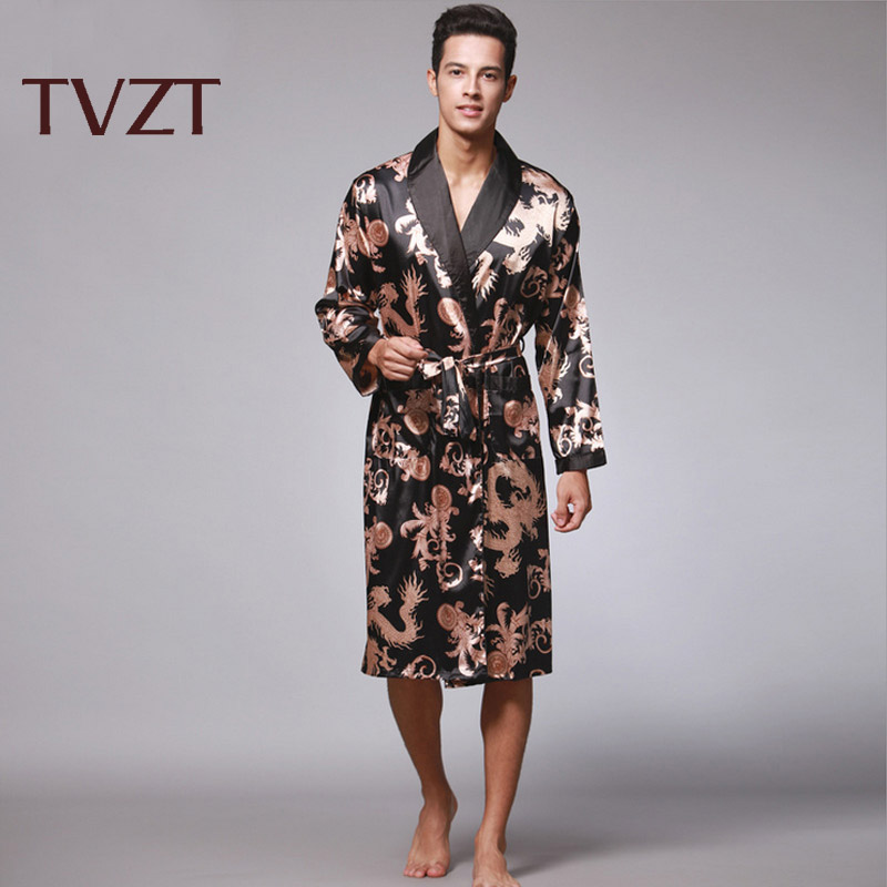Tvzt 2020 New Spring Silk Nightgown Satin Male Sleepwear Loose Dragon Dress Silky Long Sleeve Robe Men Larger Size 4 Colors