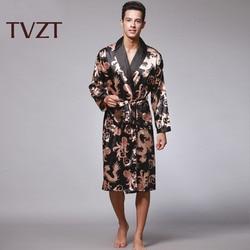 Tvzt 2020 New Spring Silk Nightgown Satin Male Sleepwear Loose Dragon Dress Silky Long Sleeve Robe Men Larger Size 4 Colors
