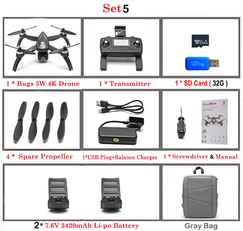 MJX Bugs 5W B5W Professional GPS Quadcopter with Camera 4K 5G Wifi Gesture Photo Brushless HD Camera Drone 21Mins Flight Time