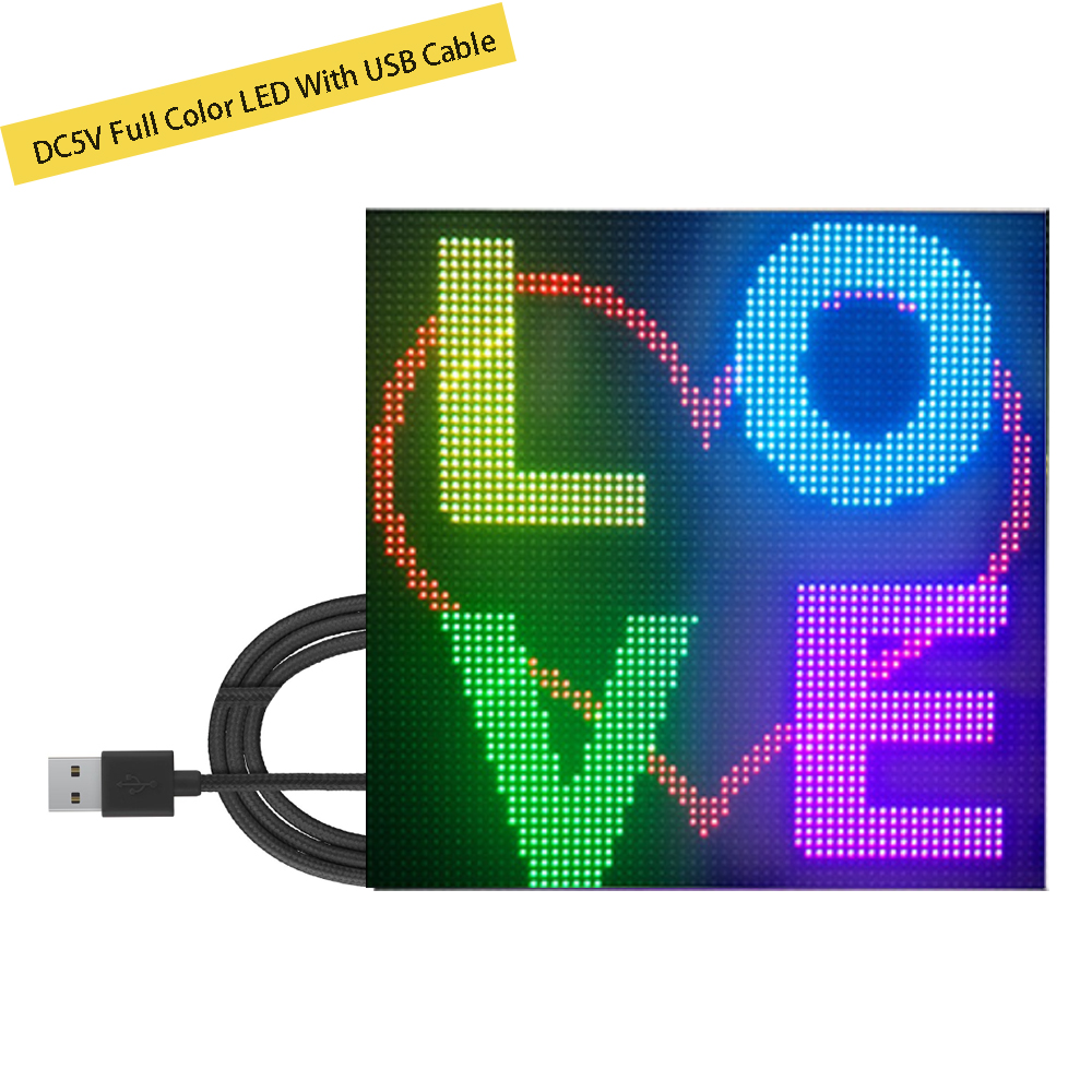 DIY Full Color LED Panel DC5V Wireless Message Board Support Global Language Image Animation with 1M USB Cable 4096 Dots