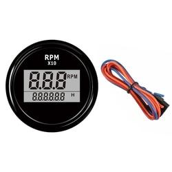 52mm Boat LED Digital Tachometer Engine Hour Meter Marine Outboard RV RPM Meter Gauge