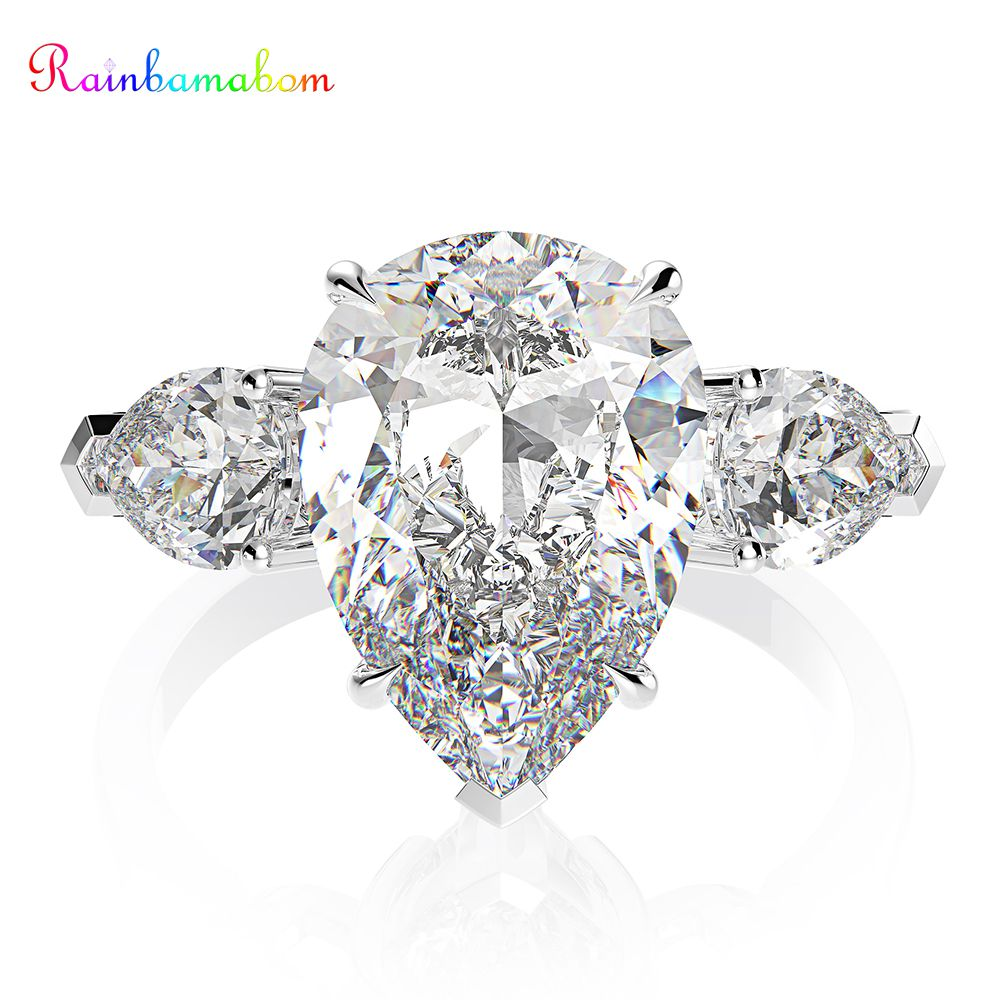 Rainbamabom 925 Sterling Silver Pear Created Moissanite Aquamarine Gemstone Wedding Engagement Ring Fine Jewelry Gifts Wholesale