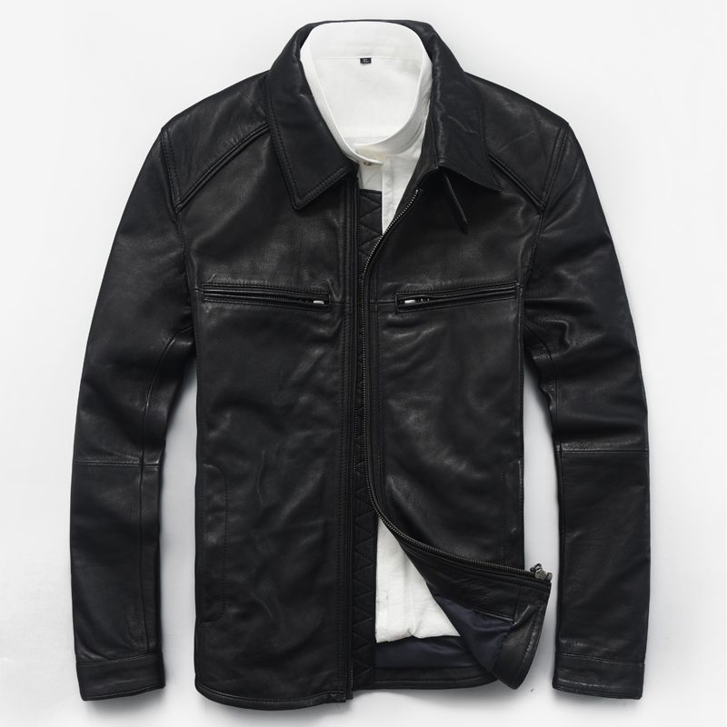 Genuine Leather Jacket Men Real Sheepskin Leather Jacket Spring Autumn Short Motocycle Plus Size Coat 180001MF609