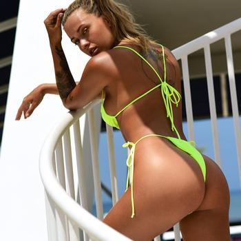 Brazilian Style Pleated String Bikini Swimsuit 6
