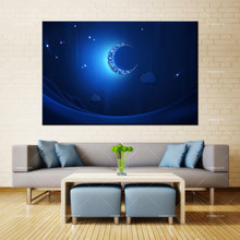 Forbeauty Canvas Painting Wall Art crescent_moon_light_shiny_neon Spray Printing Waterproof Ink Home Decor(China)