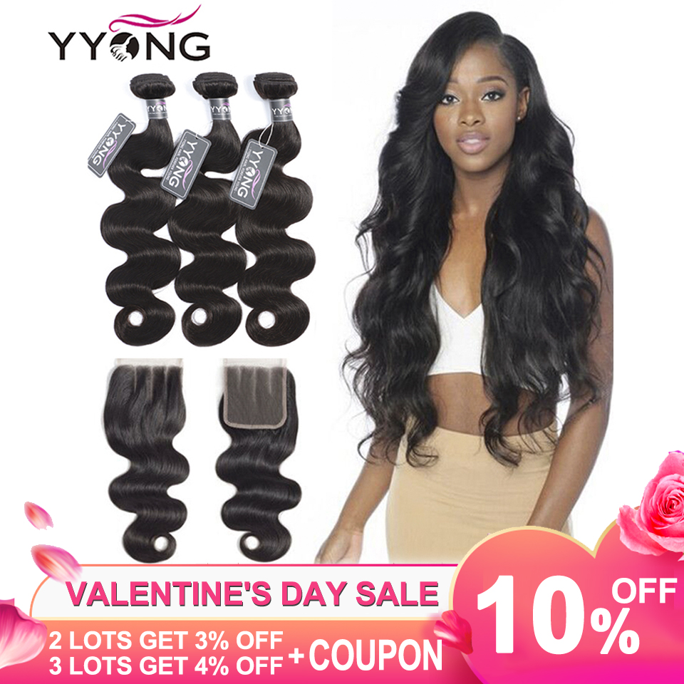 Yyong Hair 3 Bundles Brazilian Body Wave Bundles With Closure 4x4 Remy 4Pcs/Lot Human Hair Weave Bundles With Lace Closure