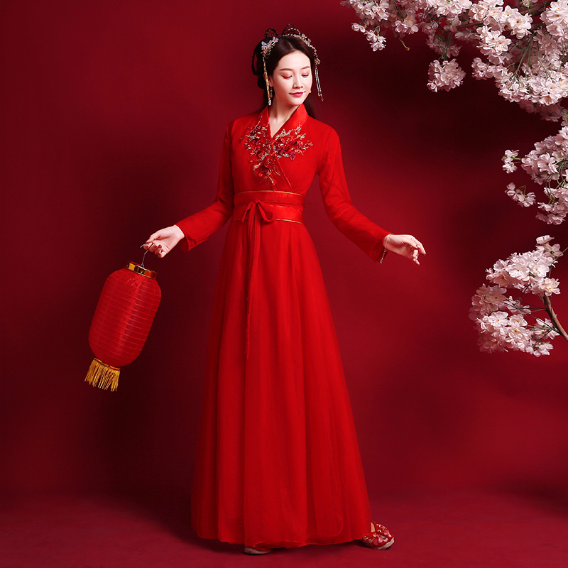 Traditional Chinese Clothing Bride Red Stage Costume Guzheng Dance Costume Film And Television Drama Improved Hanfu Women Skirt