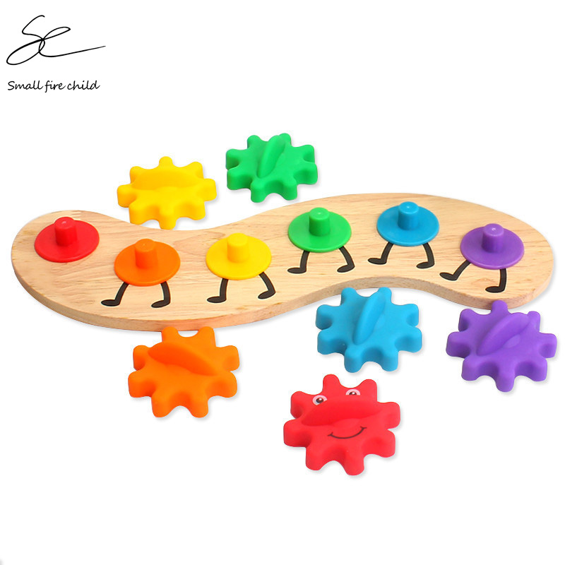 Montessori Wooden Gearwheel Blocks Colorful Rainbow Toy Set 6PCS Kids Toys For Children Oyuncak Brinquedos Juguetes Brinquedo