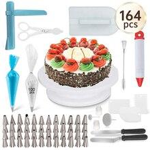 164 adet/takım kek pikap seti çok fonksiyonlu kek dekorasyon kiti pasta tüp fondan aracı parti mutfak tatlı pişirme malzemeleri