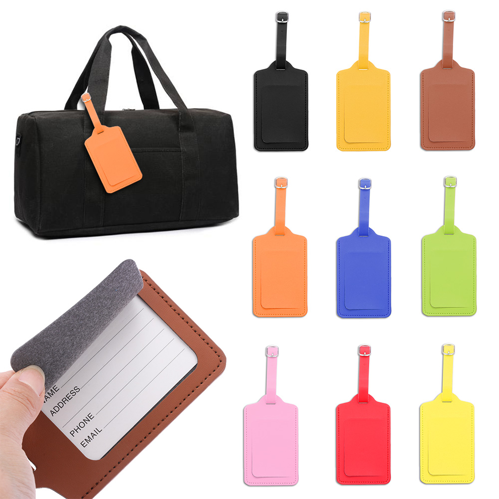 1Pcs Unisex Leather Suitcase Luggage Tag Label Handbag Pendant Baggage Claim ID Address Tags Portable Travel Accessories Gifts