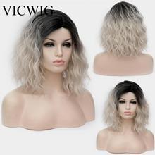 Vicwig Blonde Gemengde Zwarte Kleur Gradiënt Korte Pruik Synthetische Cosplay Pruik Groen Orang Blauw Paars Roze Krullend Pruiken Voor Vrouwen