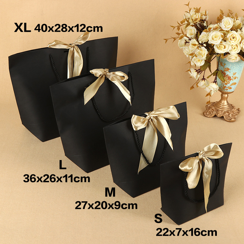 5Pcs <font><b>Large</b></font> Size Present <font><b>Box</b></font> For Clothes Books <font><b>Packaging</b></font> Gold Handle Paper <font><b>Box</b></font> Bags Kraft Paper <font><b>Gift</b></font> Bag With Handles & Ribbons image