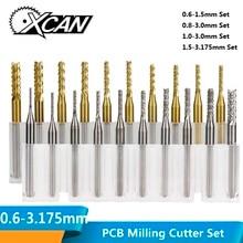XCAN 10 шт. 0,6-3,175 мм Карбид PCB Фрезерный резак набор 3,175 мм хвостовик PCB машина Гравировальный Бит Концевая фреза