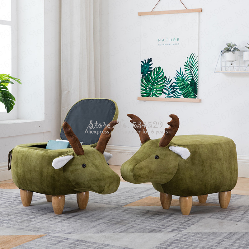 Cute Change Shoes Solid Wood Deer Animal Change Shoes Stool Storage Low Stool Sofa Bench Test Shoes Stool Creative Small Stool