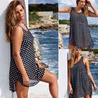 2019 Hot Women Bikini Cover Up Beach Dress Kaftan Sarong Swimwear Black sexy spots Swimsuit Plus Size