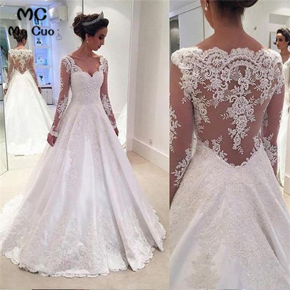 Elegant Sheer Lace Wedding Dresses With Applique Long Sleeve Vestidos De Novia Bridal Dress See Though Wedding Gown
