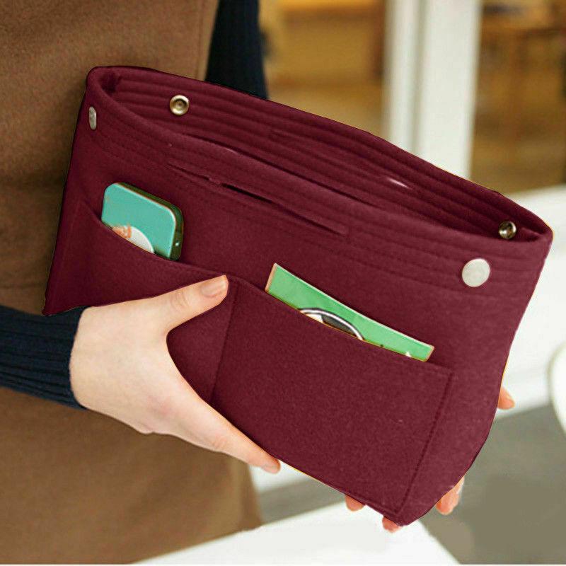 Portable Felt Fabric Purse Handbag Organizer Bag Multi Pocket Insert Large Cosmetic Bags & Cases