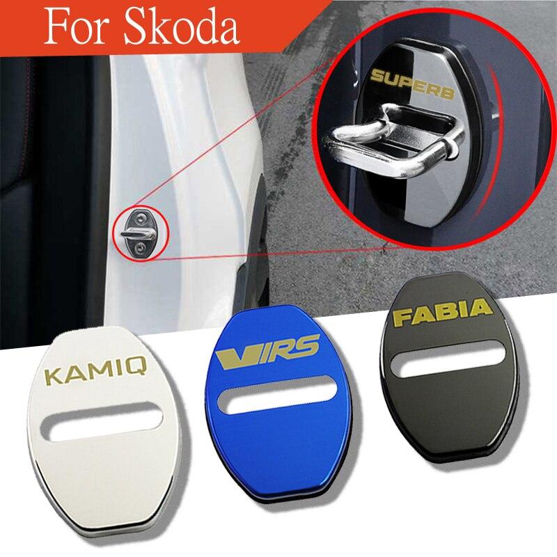 VRS Skoda Door Lock Cover Chrome Black Buckle Emblem Badge Cap Octavia Fabia