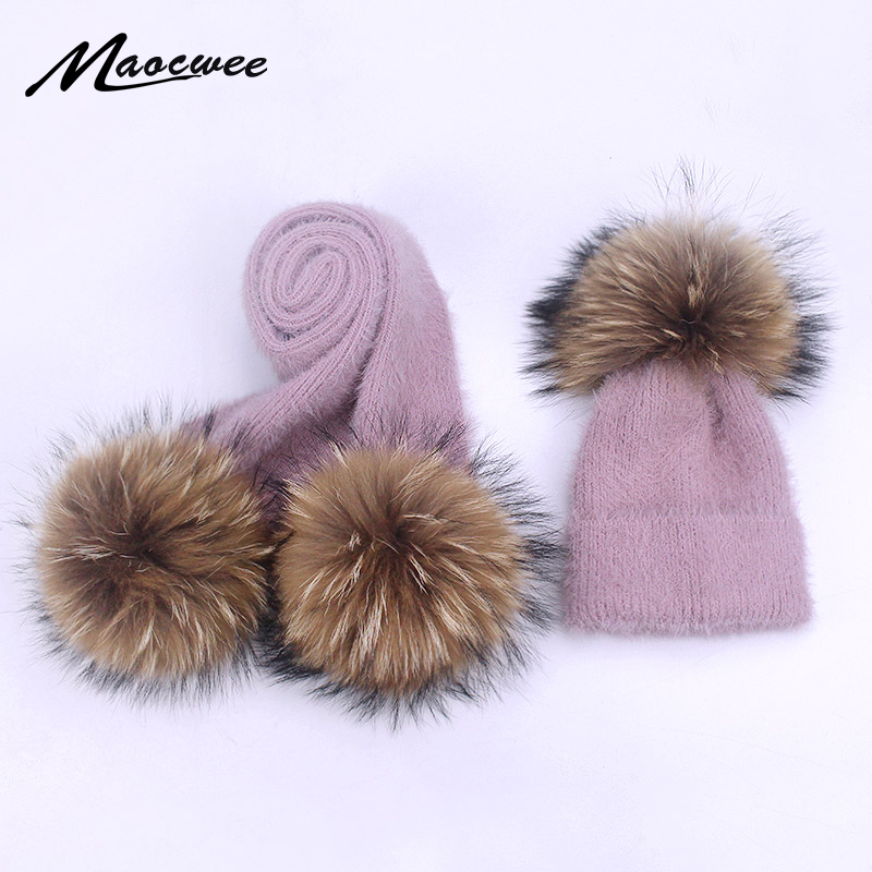 Hat Scarf Set Parent-child Beanies Hats Crochet Knitted Children Wool Soft Solid Real Fur Pom Pom Autumn Winter Women Wool